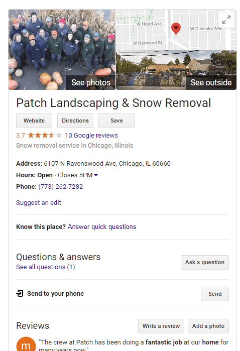 Screenshot of Patch Landscaping, an example of a Google My Business Listing