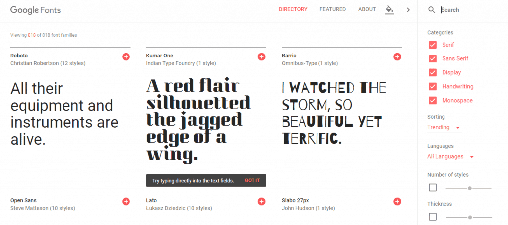 google fonts screenshot
