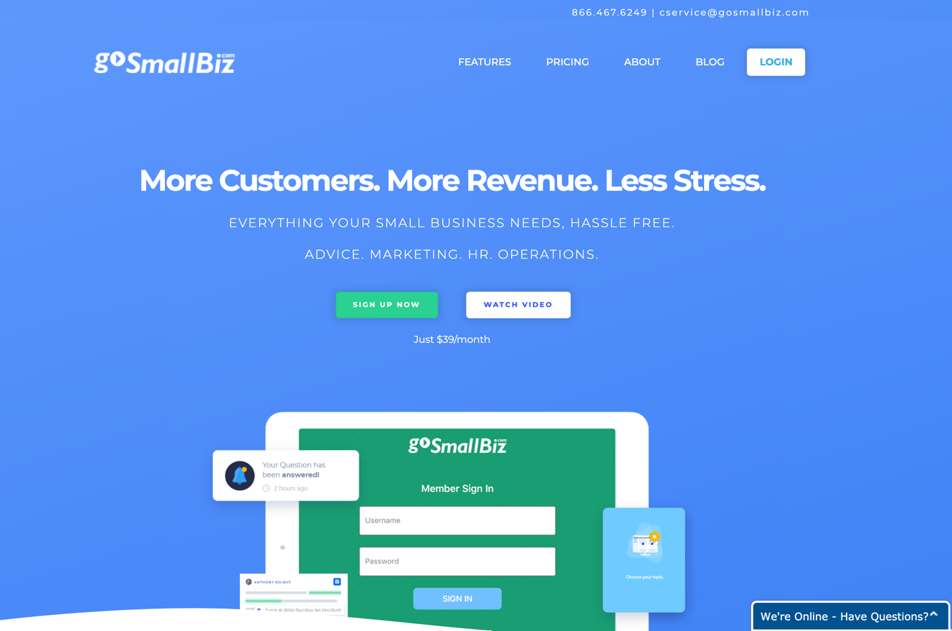 gosmallbiz homepage
