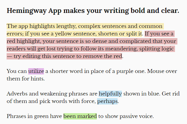 Hemingway app picture communication tips