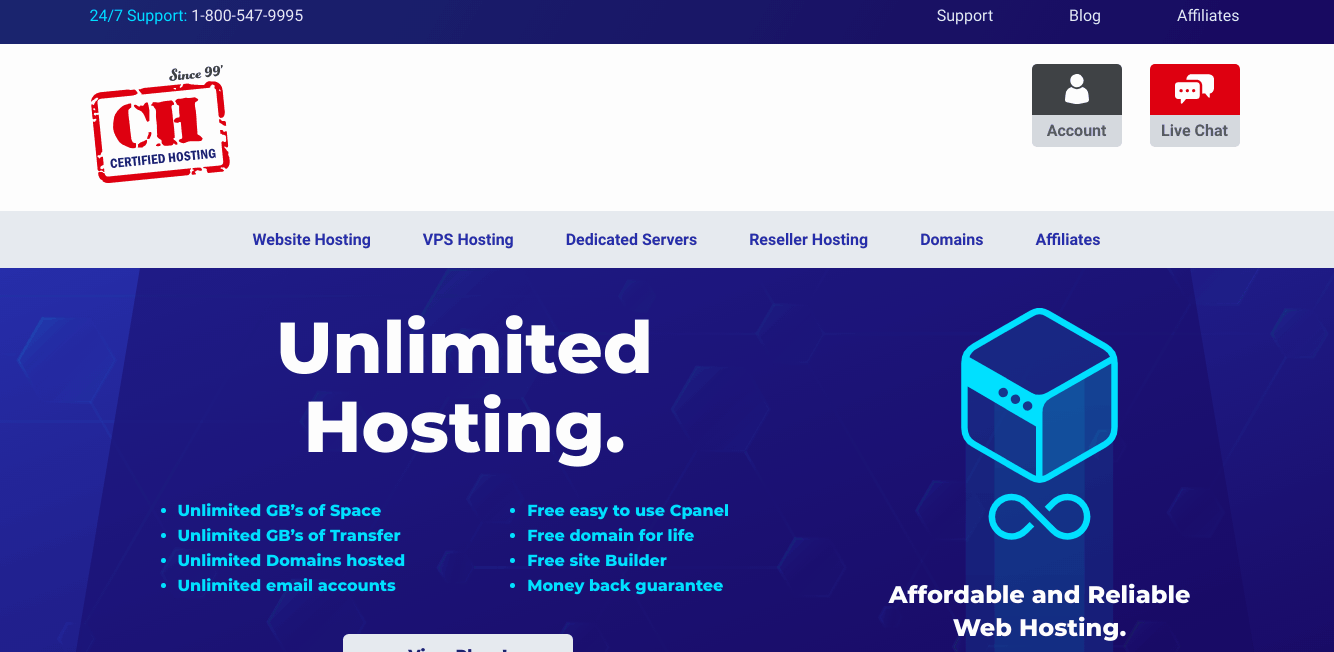 Certified Hosting Home Screenshot