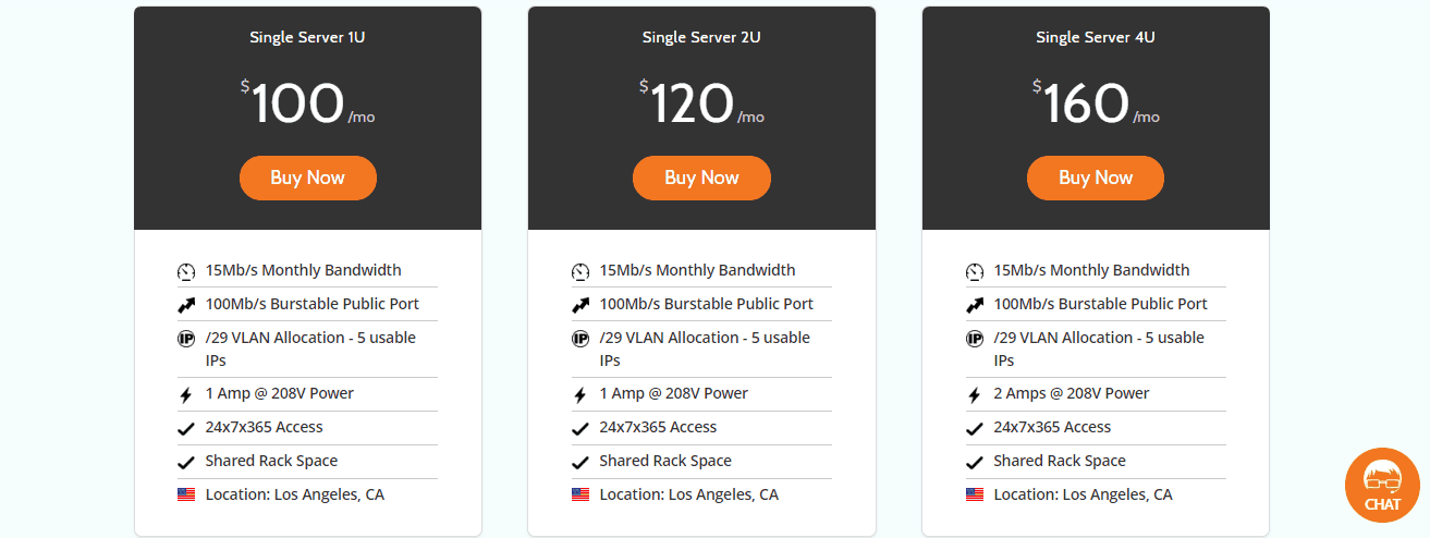 HostDime LA Server Options