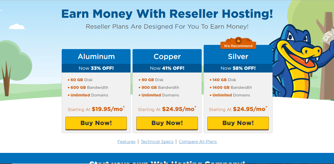 HostGator Reseller Plans Screenshot