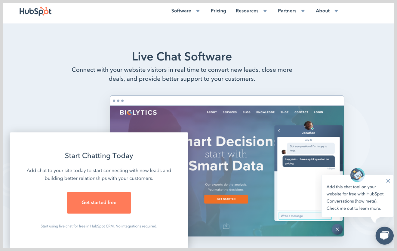 hubspot live chat