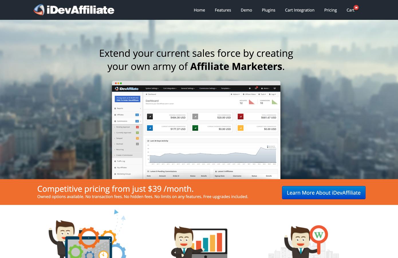 idevaffiliate homepage