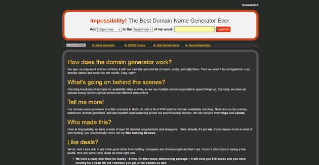 Impossibility domain name generator