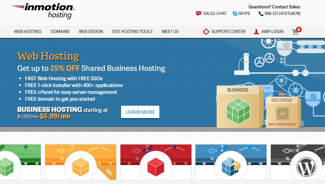InMotion Hosting Homepage screenshot