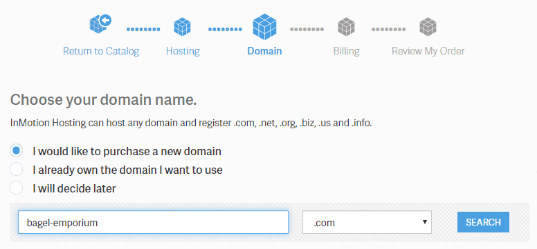 InMotion Hosting Enter Domain