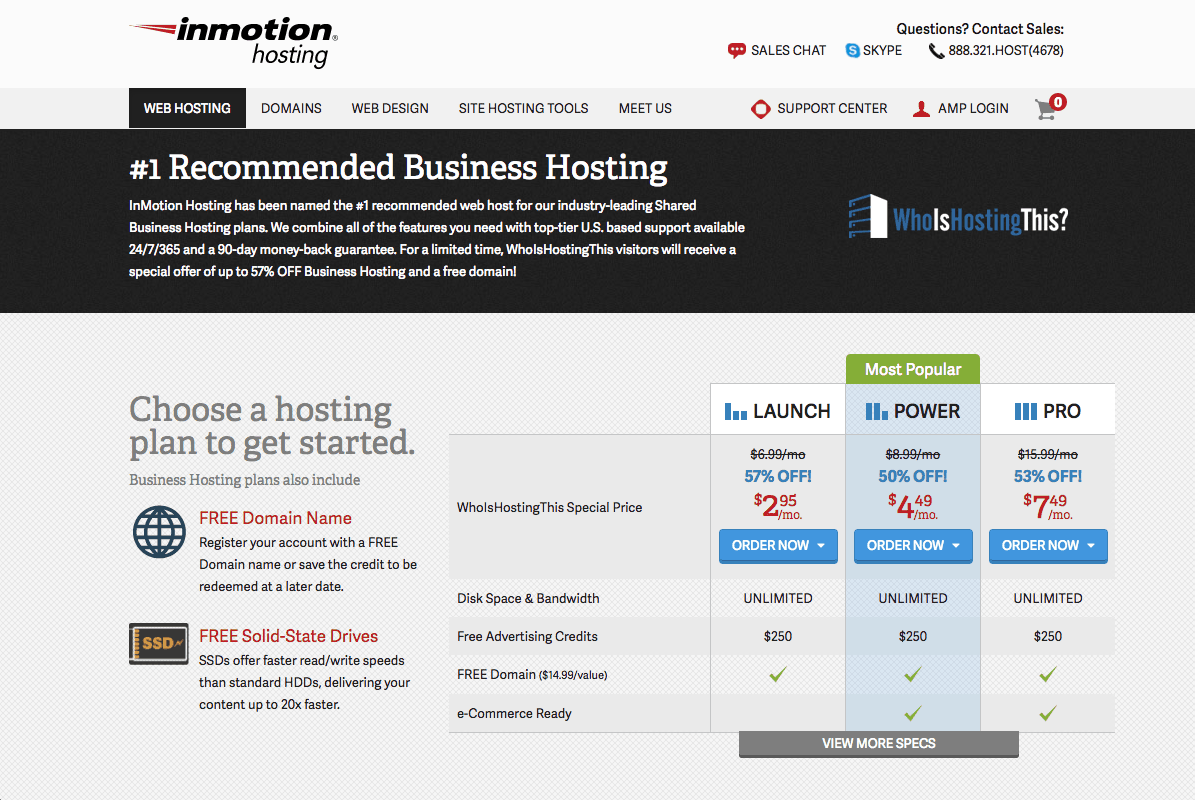 InMotion Hosting Home Page