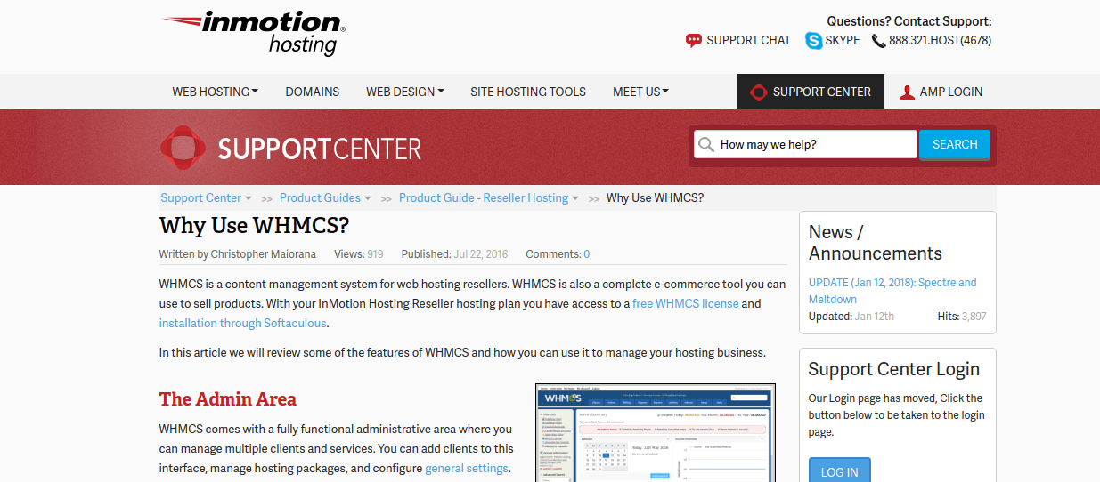 Inmotion hosting WHMCS