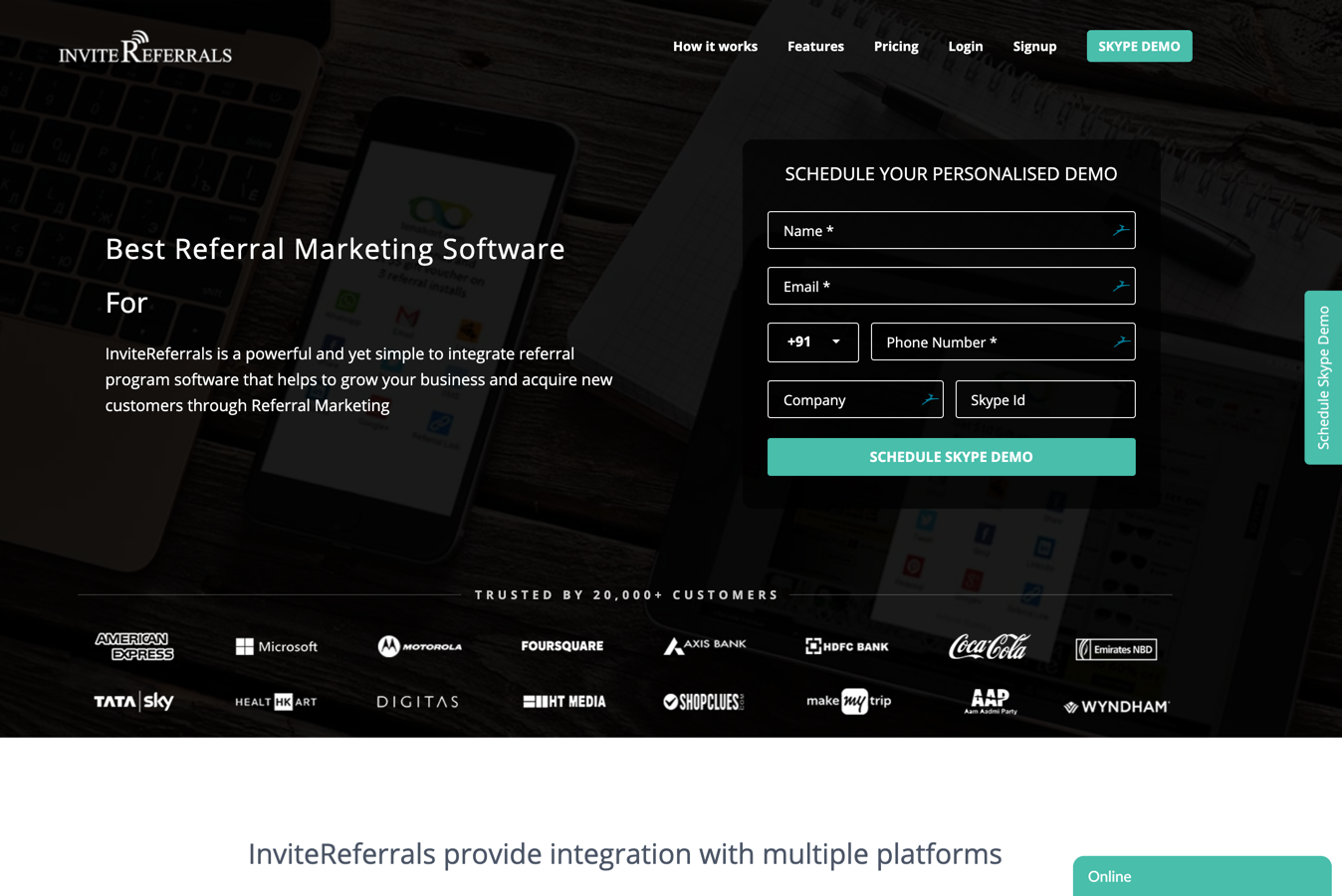 invitereferrals homepage