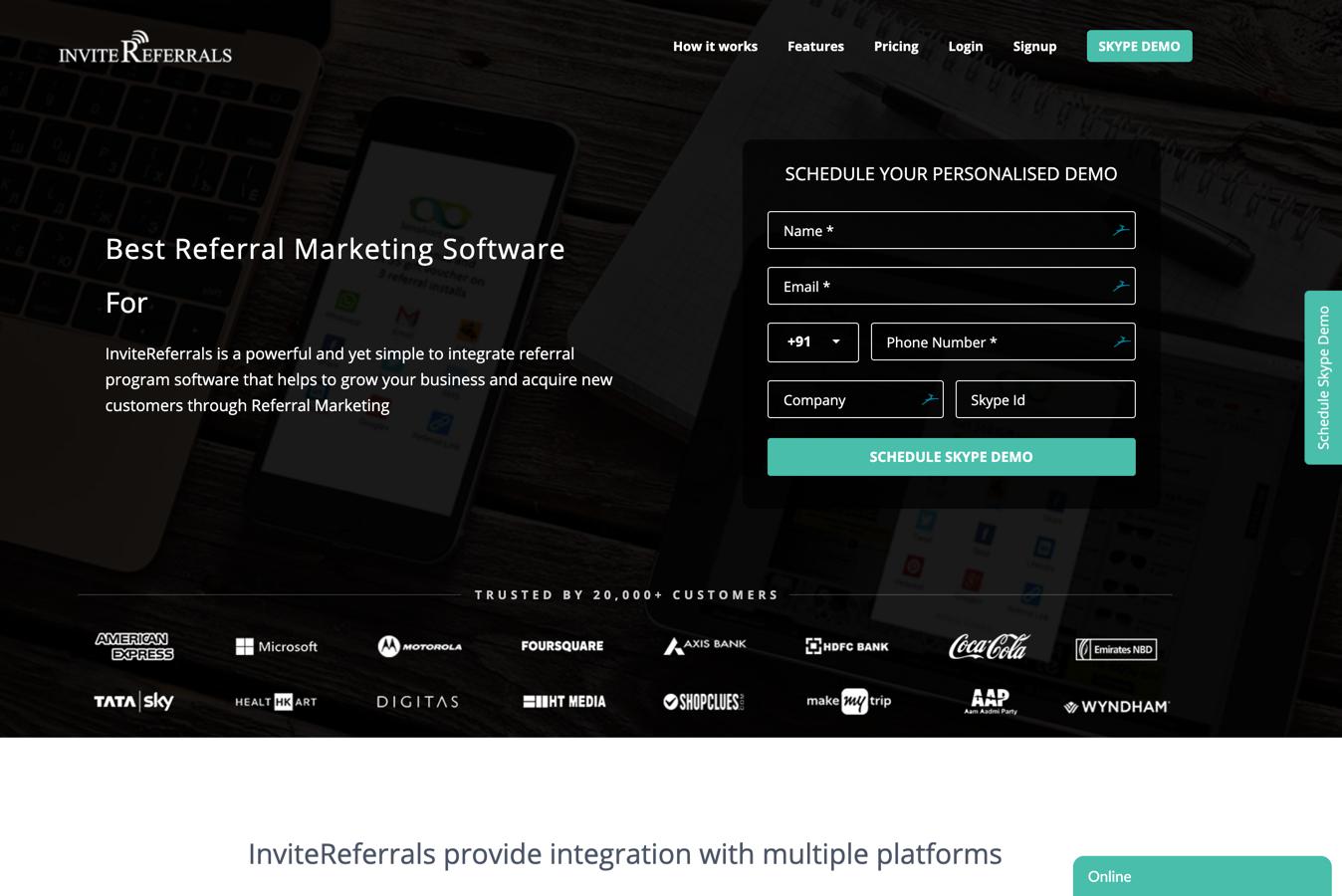 invitereferrals homepage