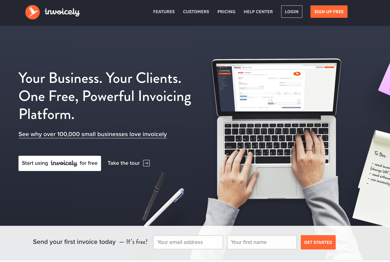 invoicely homepage