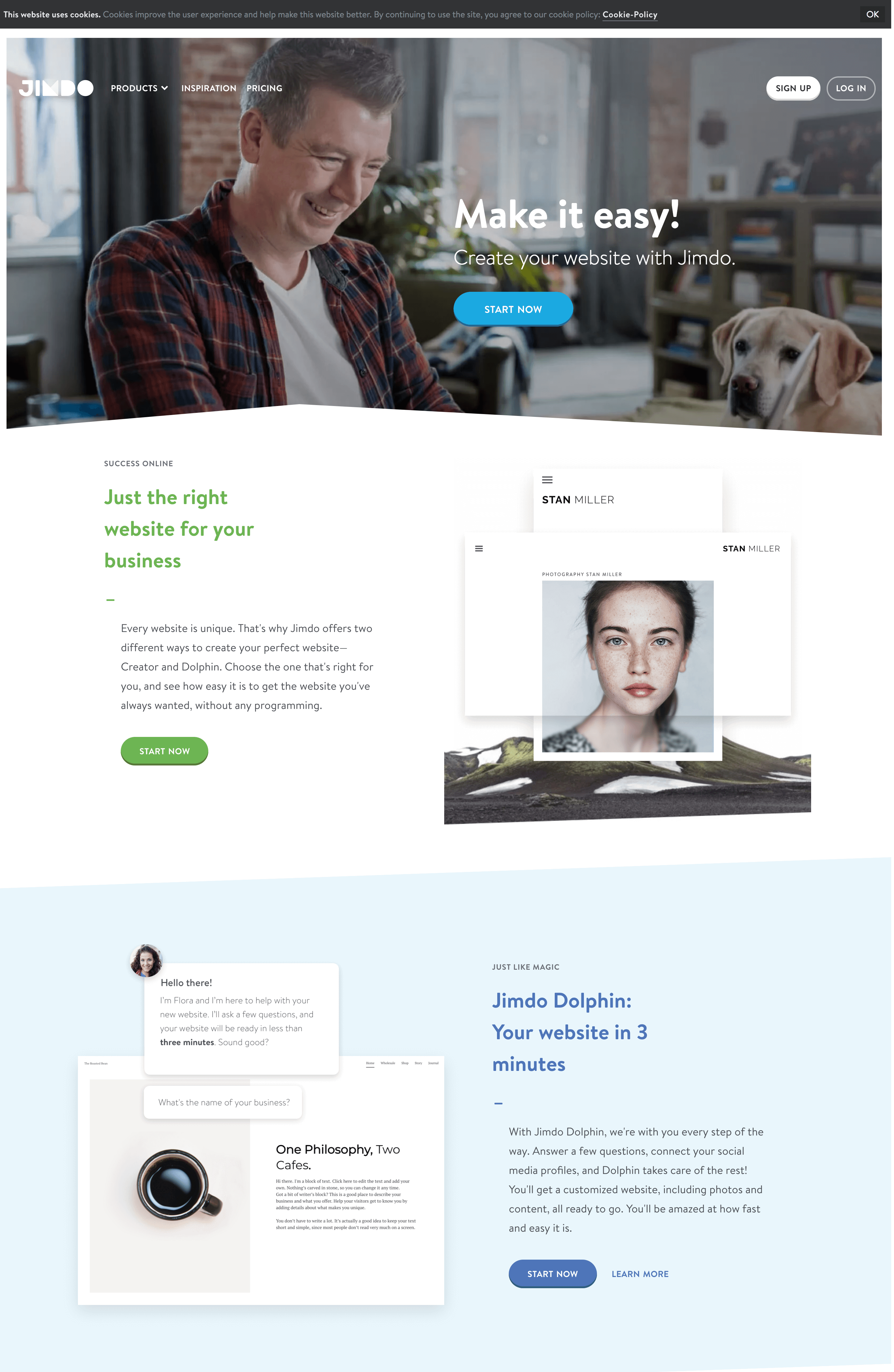 jimdo site homepage
