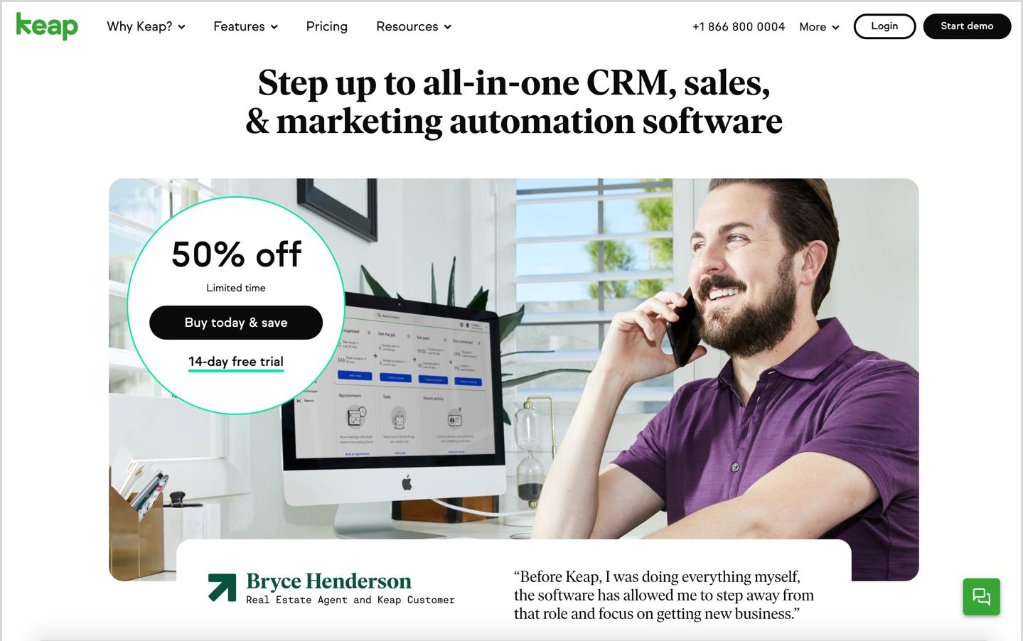 keap crm homepage