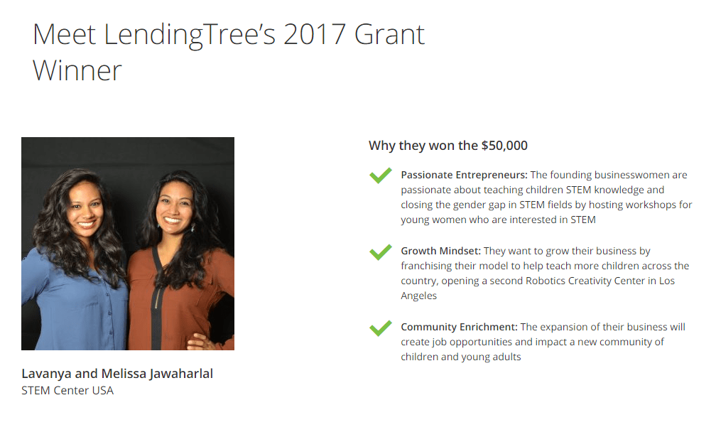 past winners of lending tree grants