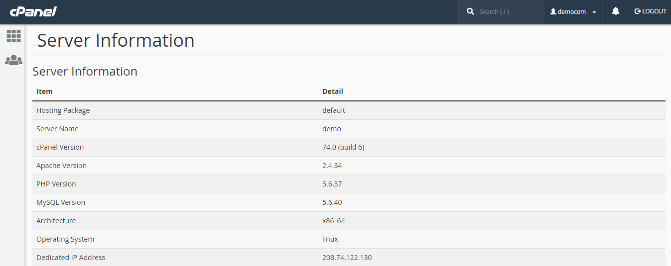 Limestone Network cPanel Server Info