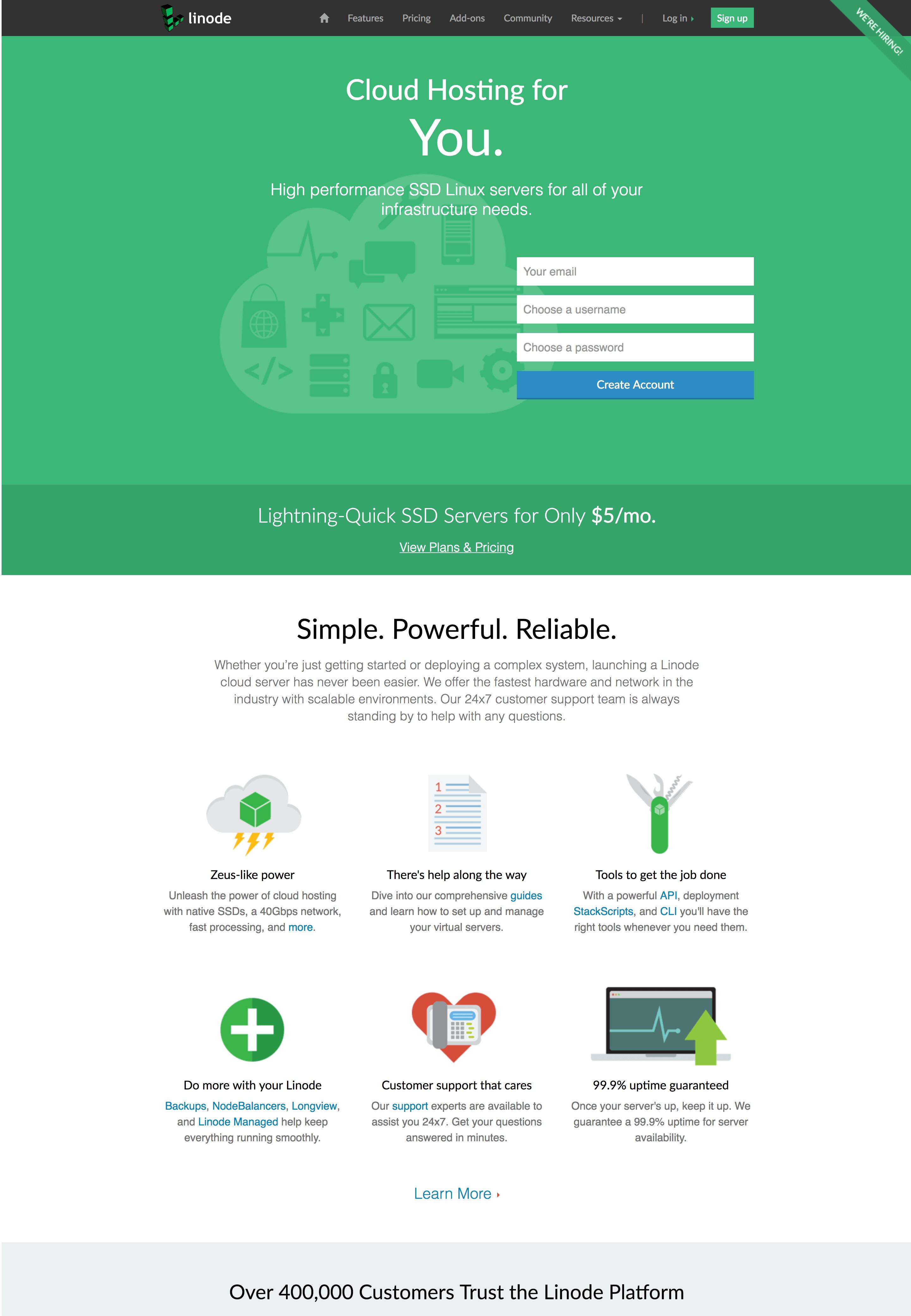 linode homepage
