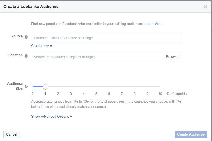 Create a lookalike audience options on a Facebook business page