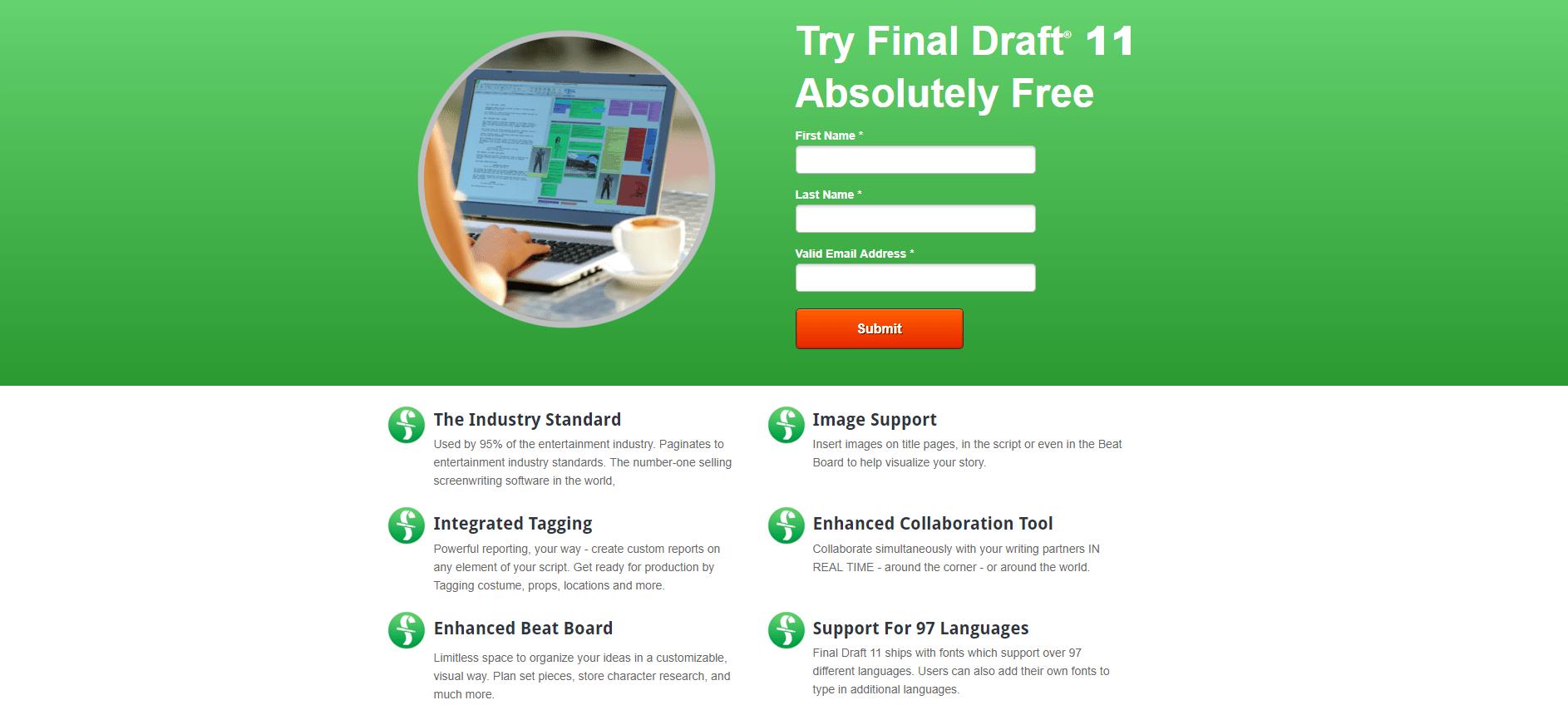 FinalDraft Landing Page