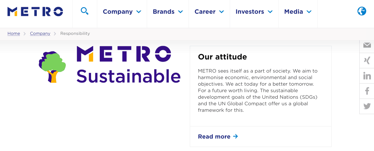 Metro AG CSR screenshot via Digital.com