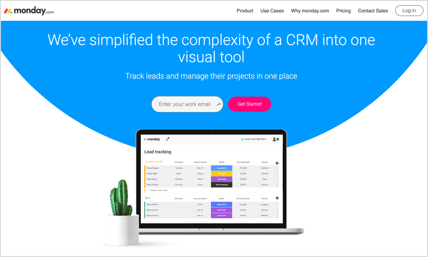 monday crm homepage