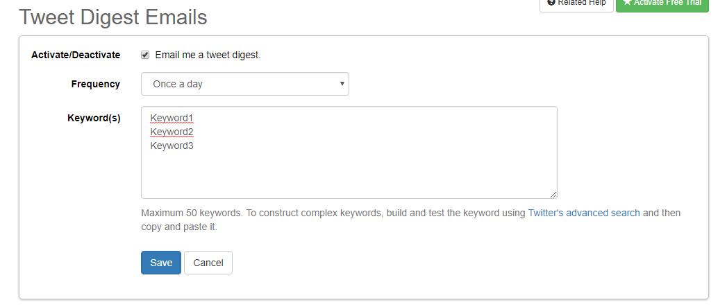 Monitor Twitter keywords in SocialOomph