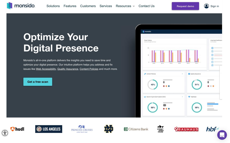 monsido homepage