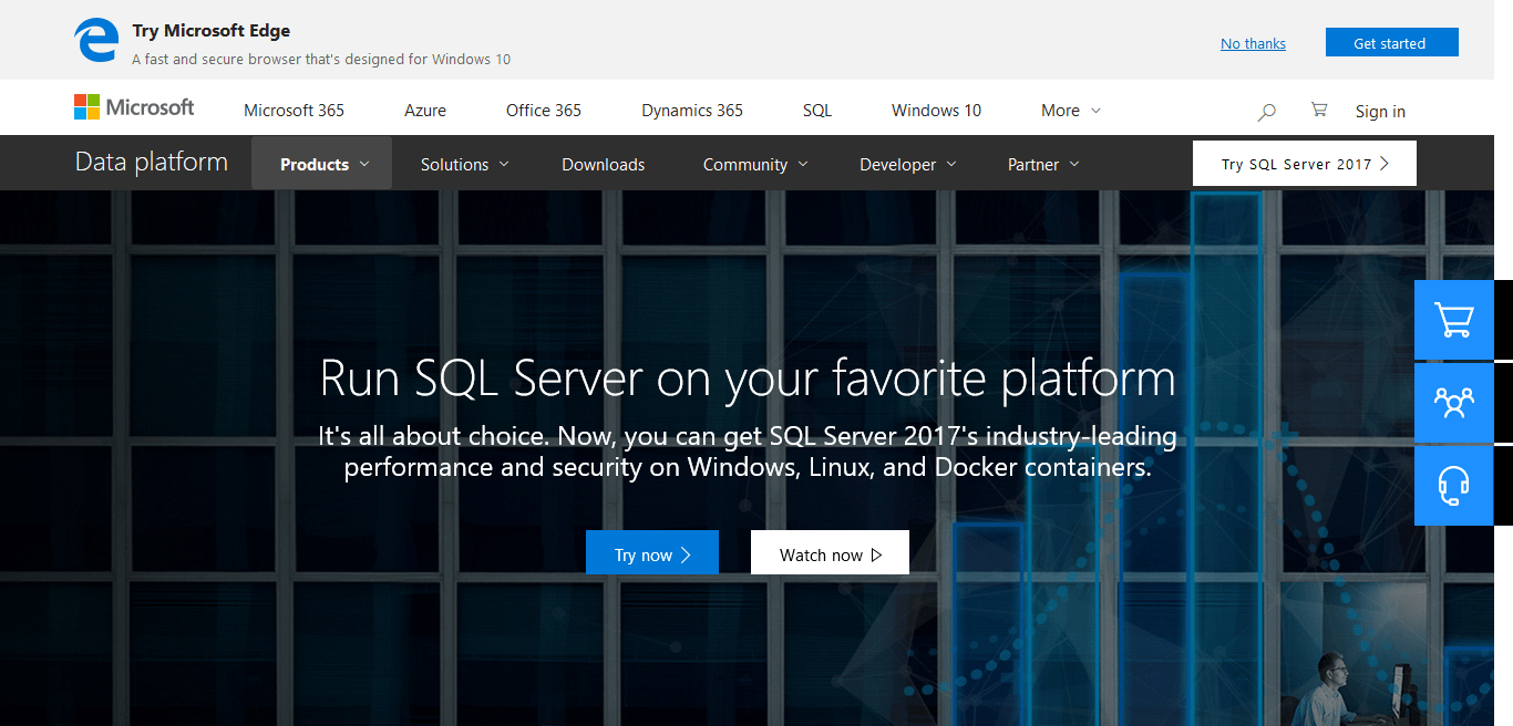 MS SQL Homepage Screenshot