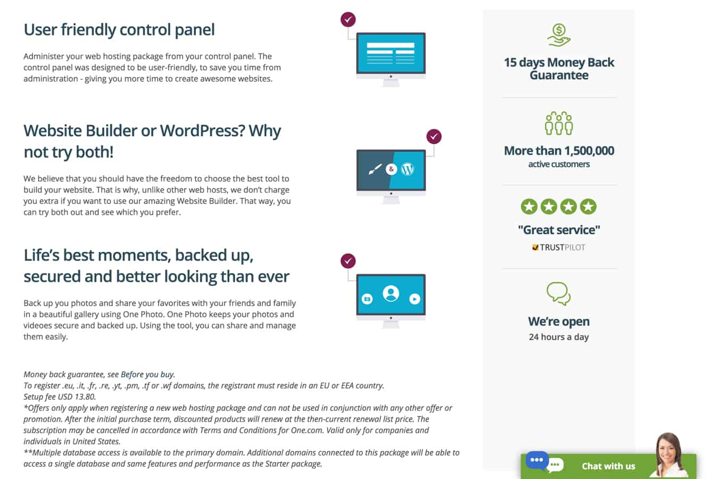 one.com benefits screenshot