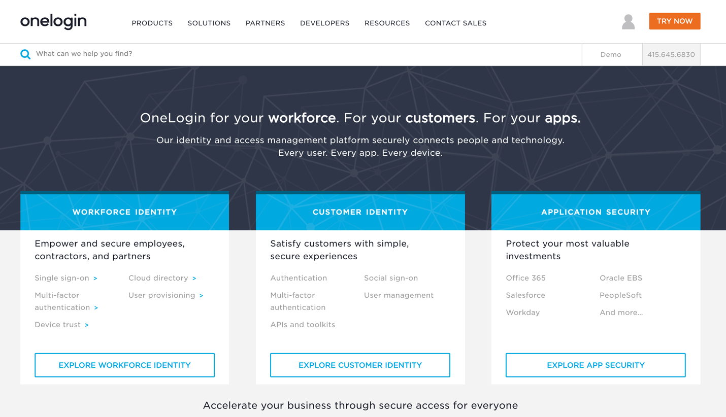 onelogin homepage