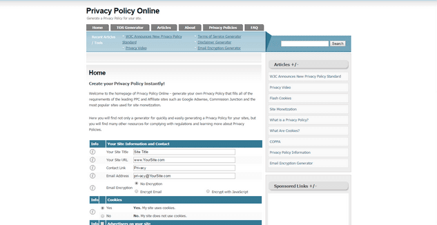 Privacy Policy Online Generator