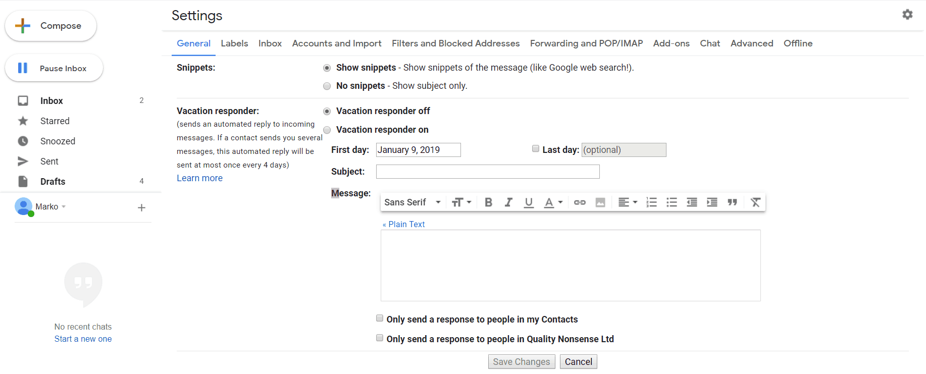 Out of Office Message Gmail