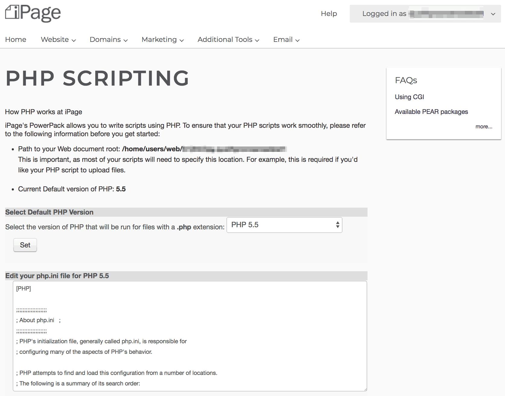 iPage's PHP panel. Image via WhoIsHostingThis