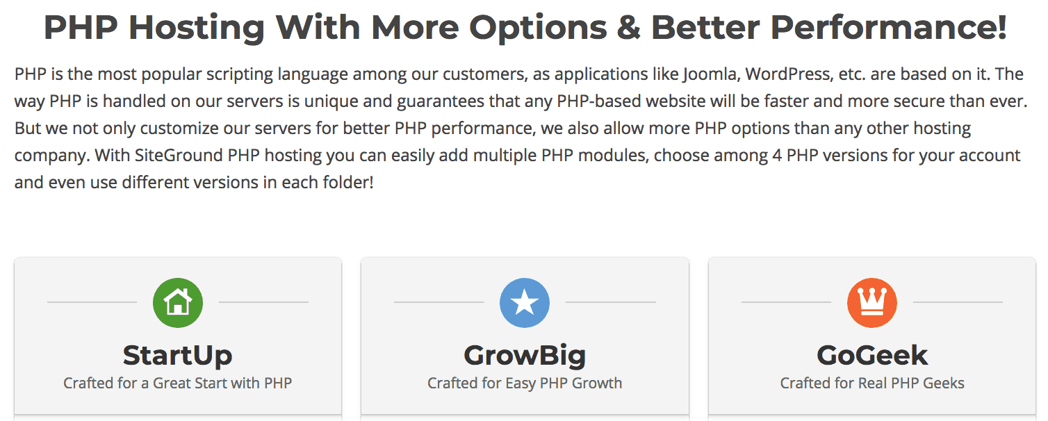 For example, all of Siteground's plans come with PHP, including the cheapest one. Screenshot via WhoIsHostingThis