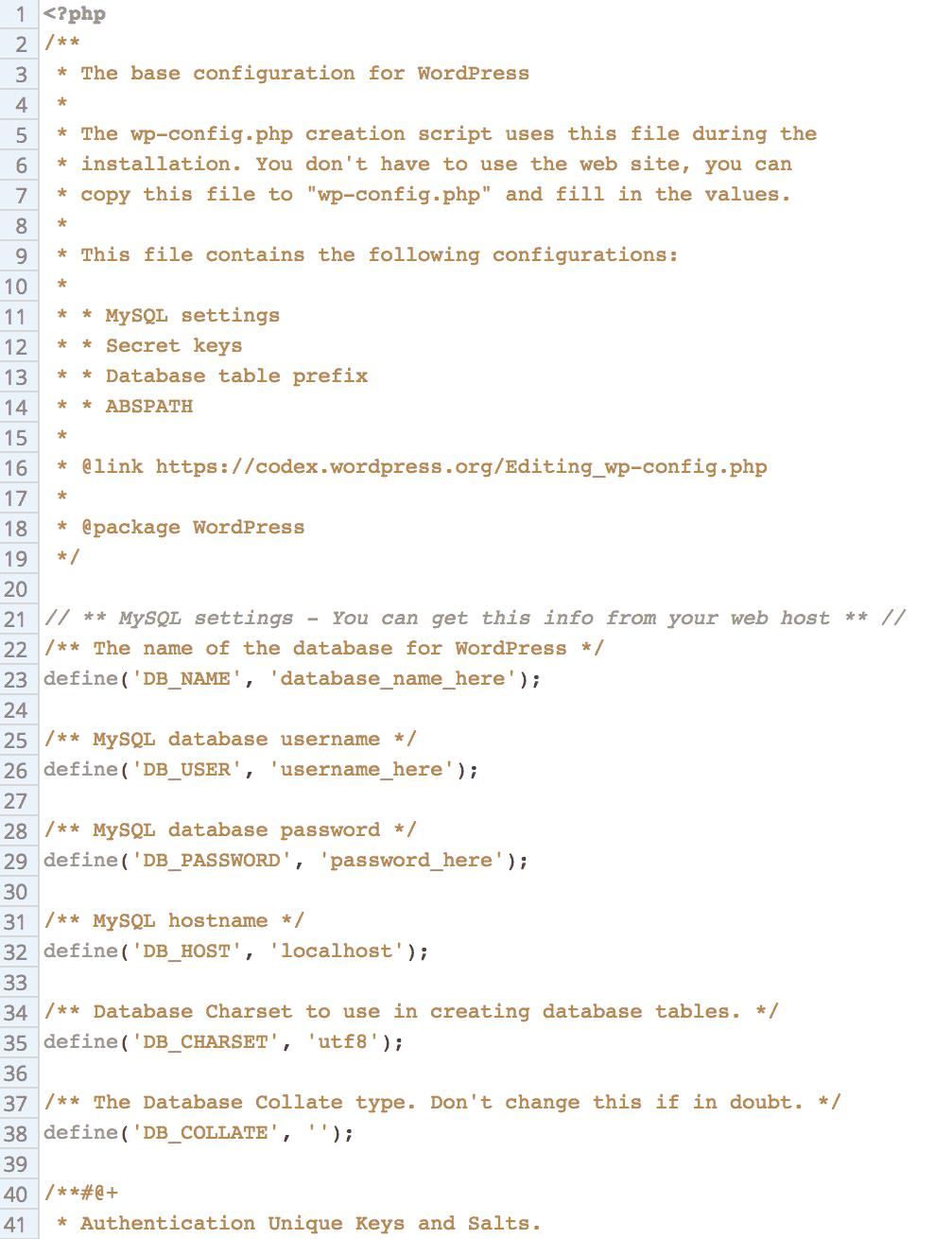 WordPress basic configuration coding in PHP. Screenshot via WhoIsHostingThis