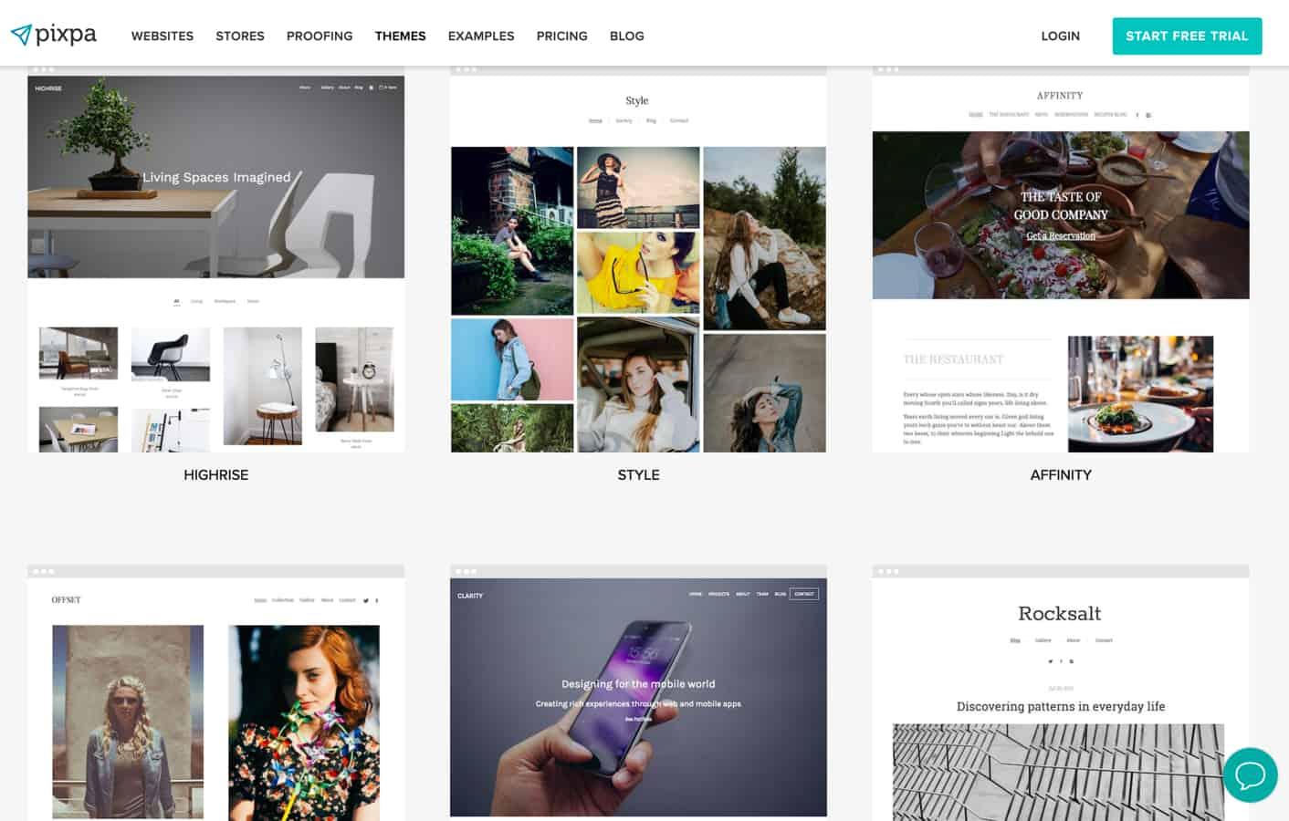 pixpa site builder themes