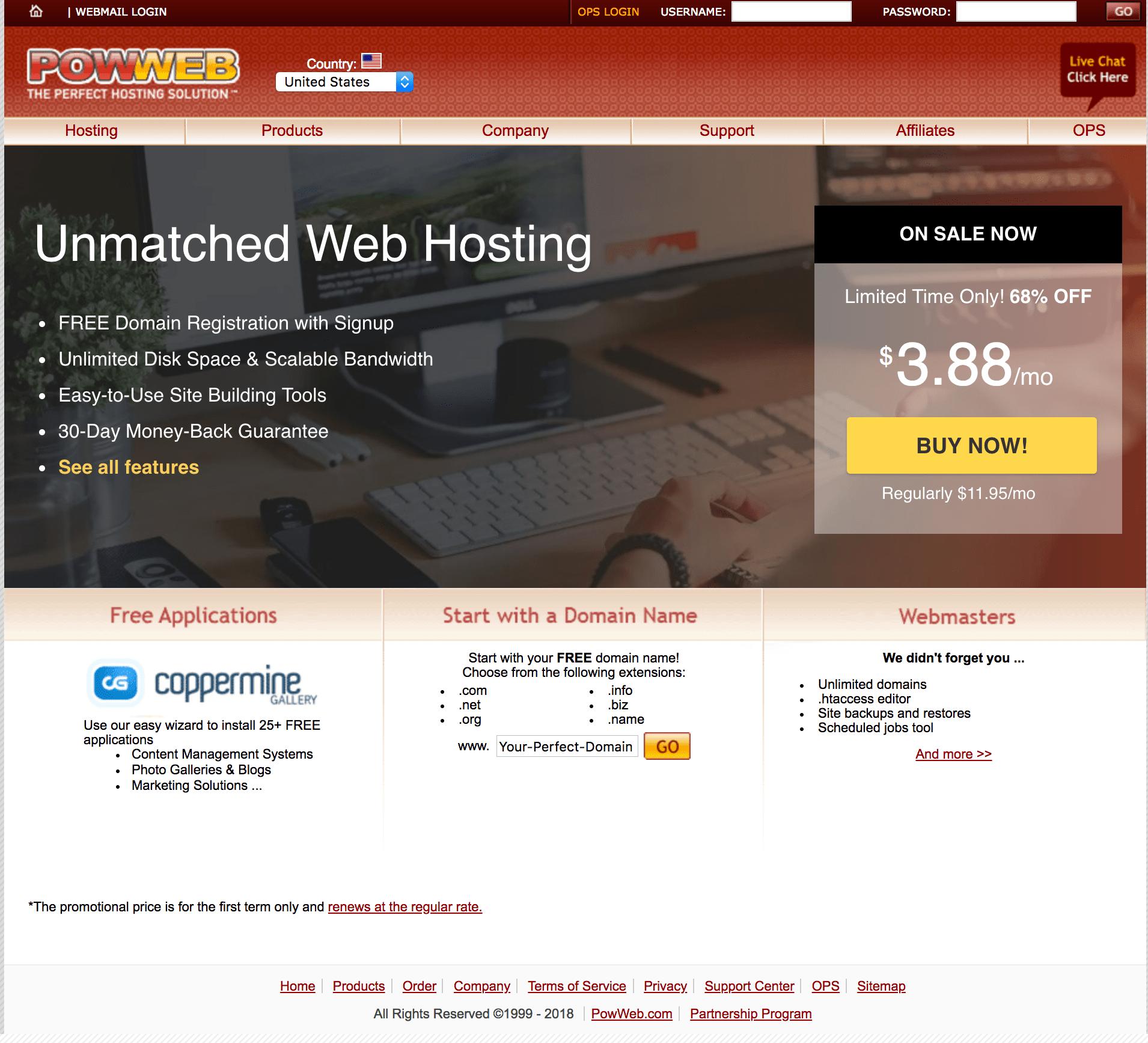 powweb homepage
