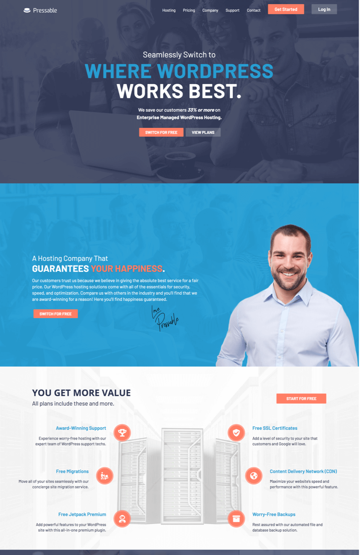 pressable site homepage
