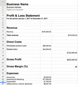 profit loss template