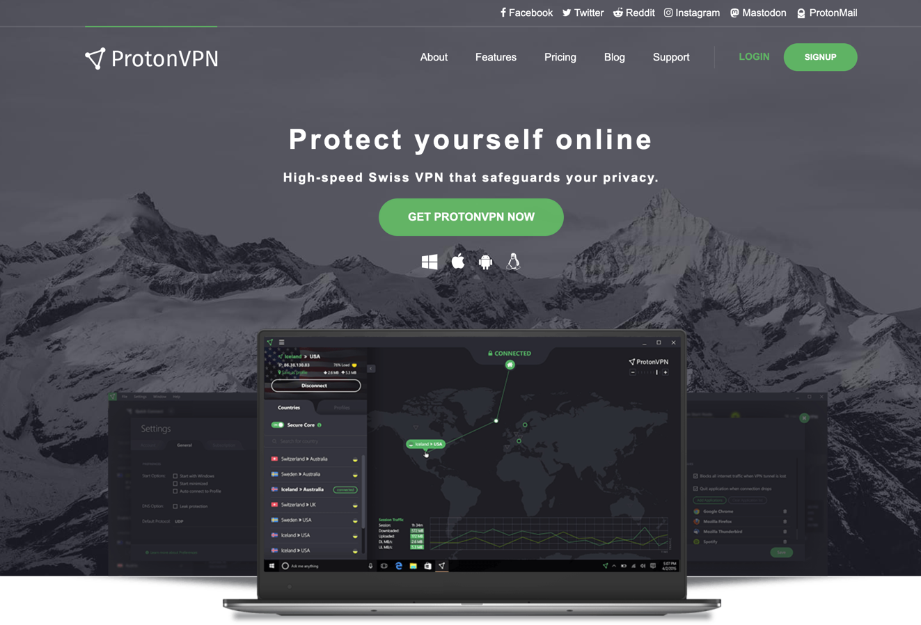 protonvpn homepage