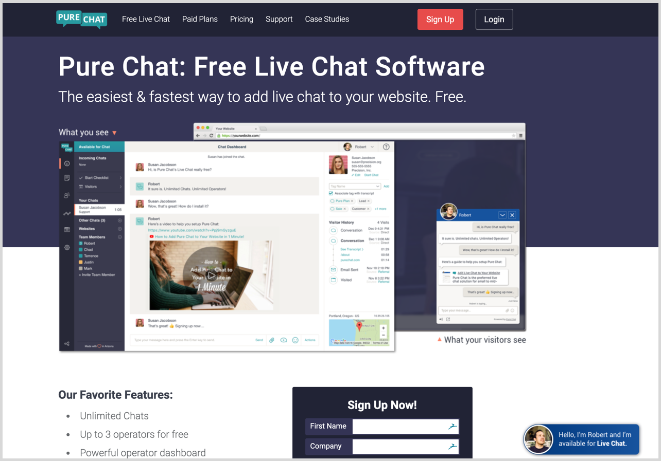 pure chat homepage