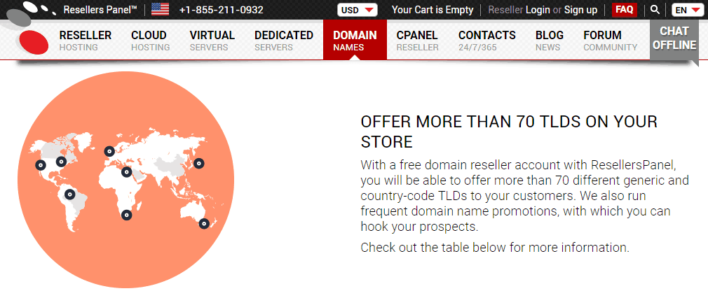 Resellers Panel allows you to sell domains along with hosting