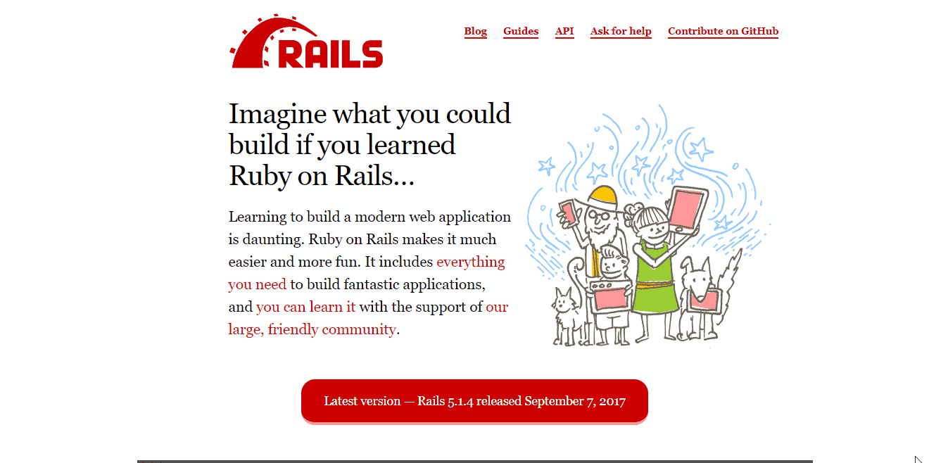 Ruby on Rails homepage