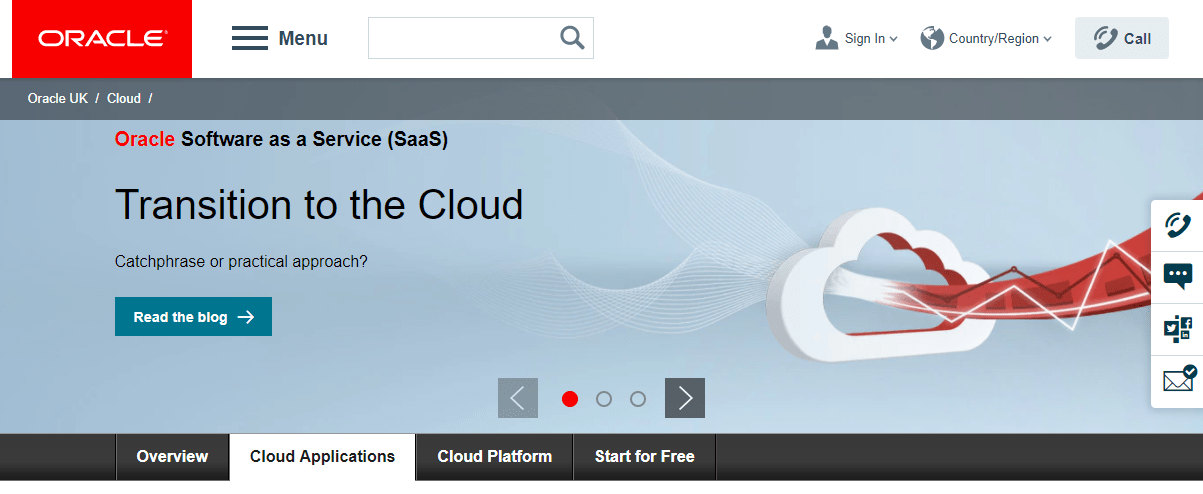 SaaS Section on Oracle's Website