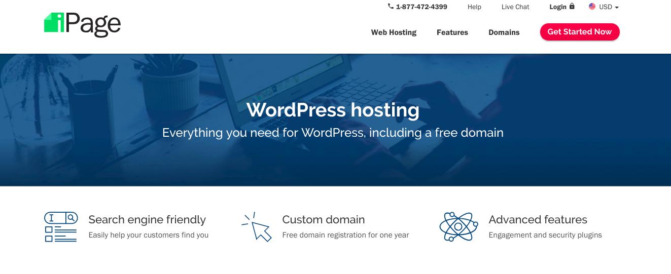 Screenshot of iPage WordPress Page via Digital.com