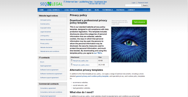 they publish both free and premium template legal documents on their website you can download a professional privacy policy