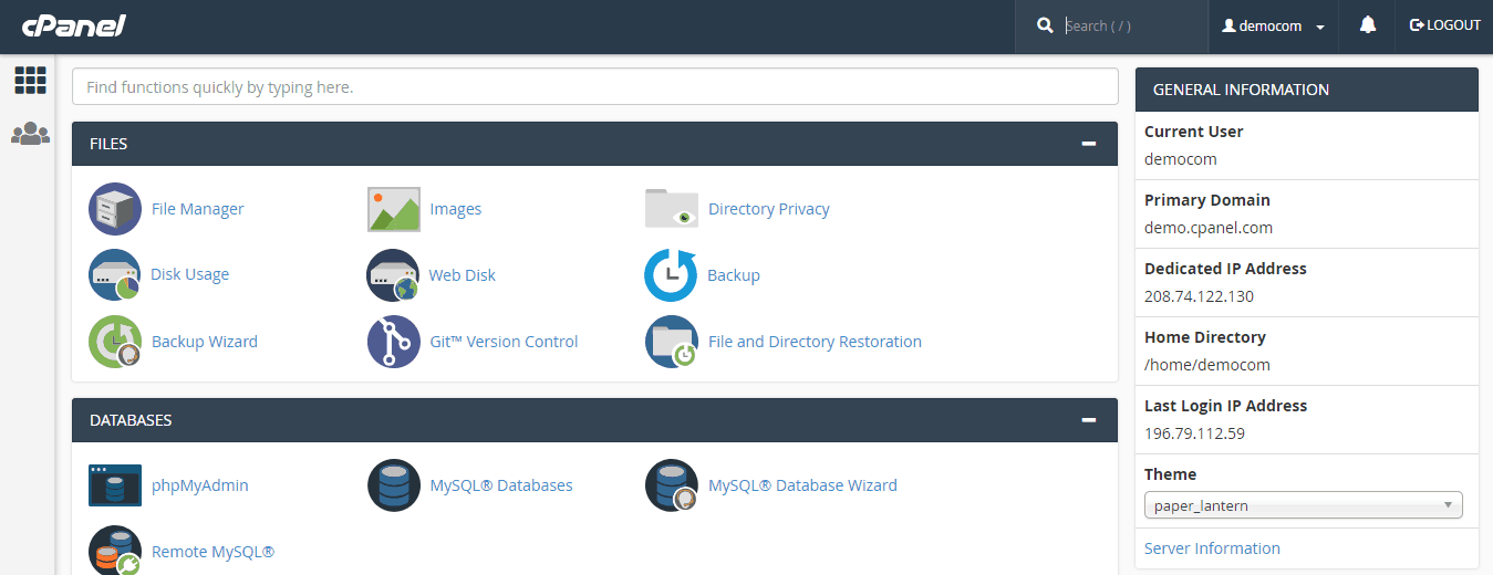 ServInt cPanel Demo