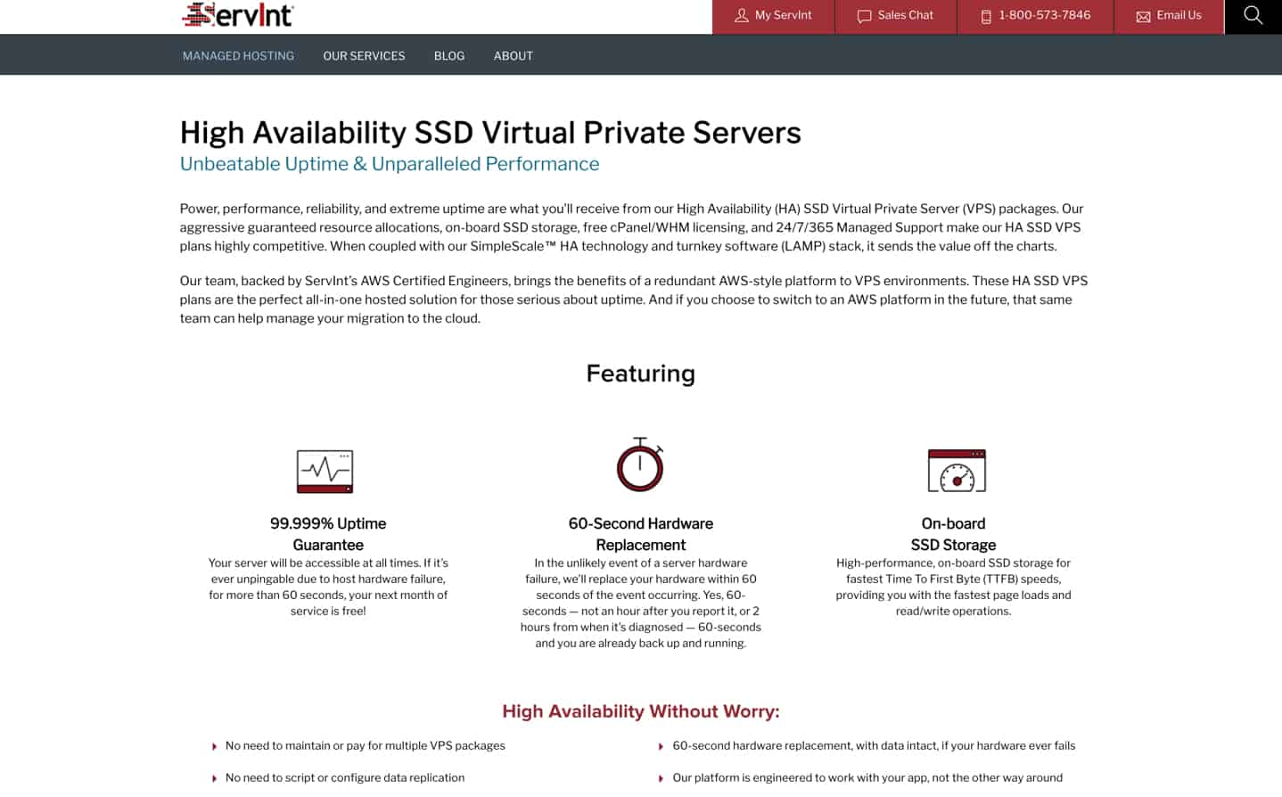servint web hosting review ssd