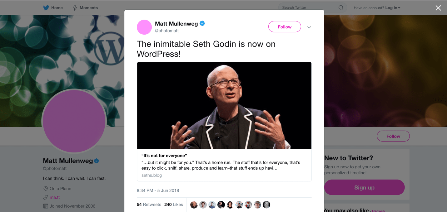 seth godin on wordpress